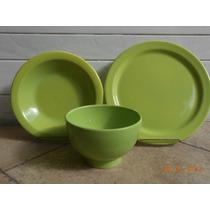 Platos Playos De Cerámica Color Verde! Excelente Vajilla!