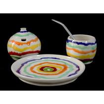 Mate Azucarera/yerbera Y Plato. Ceramica Bombilla Juego Set