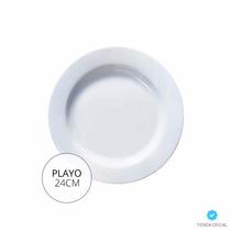 Plato Playo Luminarc Evolution Blanc24cm Vidrio Templado X6u