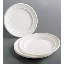 Platos Plasticos Blancos Descartables 22 Cm. X 50 Unidades