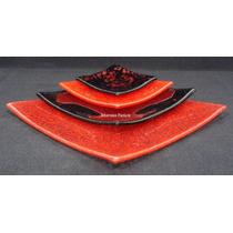 Set Platos Estilo Oriental X 4 Sushi Playo Hondo Vajilla