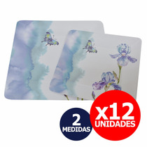 12 Platos Playos Plásticos Melamina Cuadrados - 2 Medidas