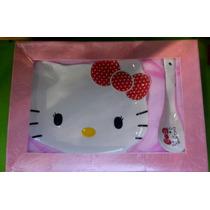 Juego De 2 Platos Y 2 Cucharas De Ceramica Hello Kitty