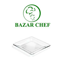 Crisa - Plato Cuadrado Transparente 20 Cm - Bazar Chef