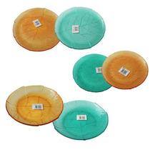 Set 18 Piezas Vajilla Platos Vidrio Durax Labrado Colores