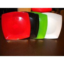 Platos Plasticos Cuadrados Exc Cal,ap Microon 12 Un $ 119,99