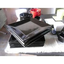 Plato Cuadrado Playo Negro 25x25cm Hondo 22x22cm Fabrica