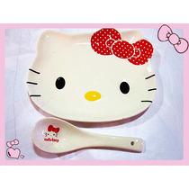 Set De 2 Platos+2 Cucharas De Hello Kitty Porcelanas