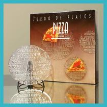 Set Platos De Vidrio Pizza - 7 Piezas | 6 Platos + Bandeja