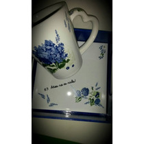 Set De Taza Con Bandeja (fondo De Azulejo) Decoradas