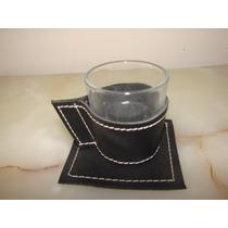 Set De Taza Con Portador Y Mantel Individual Ecocuero Negro