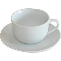 18 Tazas De Te 200 Cc Con Platito De Porcelana Extra Blanco