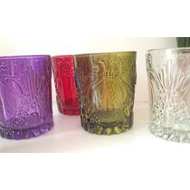 Vasos De Vidrio Prensado Labrado Bulgaro Colores Vintage
