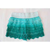 Shorts Tejido Encaje Crochet Brodery