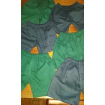 Shorts Colegiales Azul Y Verde Escolar
