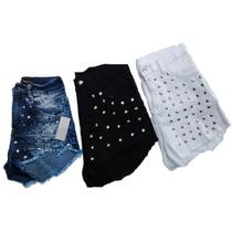 Shores De Jeans Con Tachas Elastizados Tiro Alto