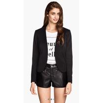 Short Pantalon Cuero Negro Importado H&m