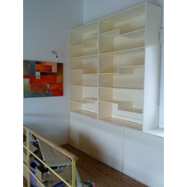 Biblioteca Doble Simétrica Laqueada En Poliuretano