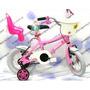 Bicicleta Rodado 12 Nena Princesa C/portapaquete Y Canasto