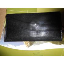 Billetera De Cuero De Dama Negra Oferta S 149,50