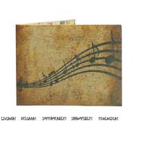 Billetera De Papel Tyvek Musica Partituras Ecologica