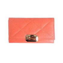 Billetera Mujer Cuero Coral Matelasse - La Merceria