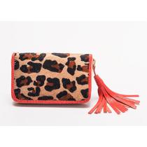 Billetera - Sobre Mujer De Cuero Leopardo - La Merceria