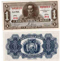 Billete De Bolivia 1 Boliviano Año 1928 Sin Circular