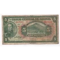 Bolivia Billete De 5 Bolivianos 1928 Pick 120 A !!