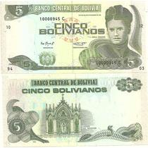 Billete Bolivia 5 Pesos Bolivianos Año 1995 Sin Circular