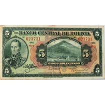 Billete De Bolivia - 5 Bolivianos - 1928 - En Mendoza