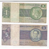 Brasil 2 Billete De 1 Y 5 Cruzeiros (1970-80) !!