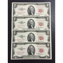 4 Billetes De 2 Dólares De Colección Emitidos En 1953