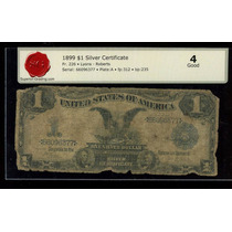 Antiguo Dolar Aguila Negra. Año 1899. Certificado Sg #2