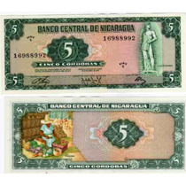 Billete Nicaragua 5 Cordobas Año 1972 Sin Circular