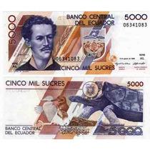 Hermoso Billete Ecuador 5000 Sucres Año 1995 Con Tortuga!!!!