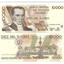 Billete Ecuador 10.000 Sucres Año 1998 Sin Circular