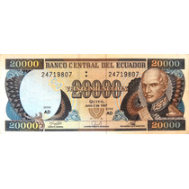 Billete De Ecuador - 20.000 Sucres -1997 - En Mendoza