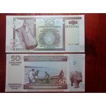 2007 - Billete De Burundi - Africa - 50 Francos - Hipopotamo