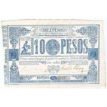 Billete De Paraguay 10 Pesos Año 1865 Sin Circular!!!!!!!!!!
