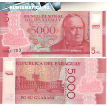 Paraguay Billete Plástico De 5.000 Guaraníes 2011 Sin Circ.