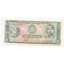 Peru Billete De 5 Soles Año 1969 Pick 99 A !!!
