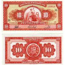 Billete De Peru 10 Soles De Oro Año 1962/67 Sin Circular