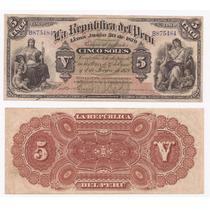 Billete Peru 5 Soles 1879 Muy Raro