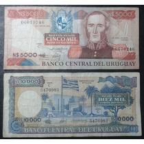 |hds| Billetes Uruguay 5000, 10000 Nuevos Pesos