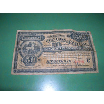 Uruguay 1887 Banco Credito Auxiliar 50 Pesos Oro Sc- Ps 165