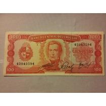 Billete De Uruguay. 100 Pesos Moneda Nacional. Estado M B+