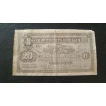 Antiguo Maqueta De Billete Uruguay 20 Pesos Oro Serie 2.8