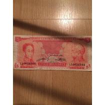Billete 5 Bolivares - Venezuela 1989