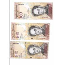 Liquido Lote De 3 Billetes De 100 Bolivares De 2012